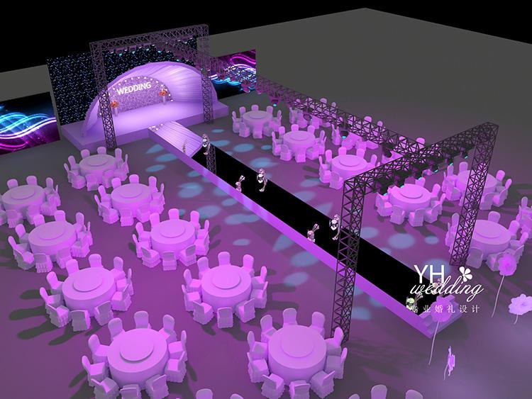 紫色灯泡元素婚礼3d效果图设计